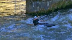 Man kayaking, Bamberg, Franconia, Germany Stock Footage