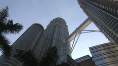 View looking up at the Petronas Towers Stock Footage