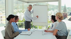 Businessman drawing graph on the whiteboard Stock Footage