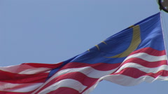 Large Malaysian flag flying in Merdeka Square, Stock Footage
