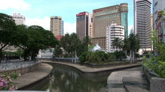 City skyline from Merdeka Square Stock Footage