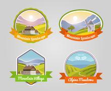 Mountain Landscape Label Piirros