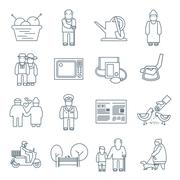 Pensioners Life Icons - stock illustration