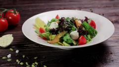 Tasty salad with salmon. Healthy food. Stock Footage