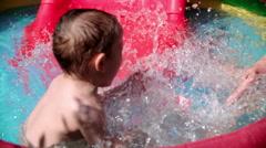 Children Splashing and Playing in Swimming Pool Stock Footage