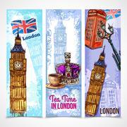 London Banner Set - stock illustration