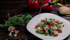Bread salad with vegetables, herbs and mozzarella cheese. Stock Footage