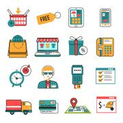Stock Illustration of Online Icons Outline Set