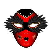 Stock Illustration of carnival red black mask