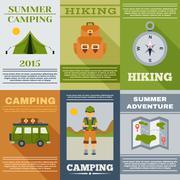 Camping Poster Set Stock Illustration