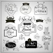 Retro design catchwords elements on whiteboard Stock Illustration