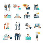 Hire Flat Icons Set Stock Illustration