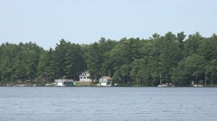 Cottage scene on Lake Muskoka Stock Footage