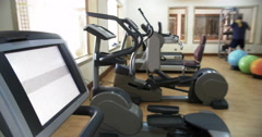 Fitness center with exercise machines Stock Footage