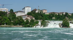 Pan of the Rhine Falls in Switzerland Stock Footage