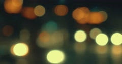 Blurry lights of traffic in city at night - stock footage