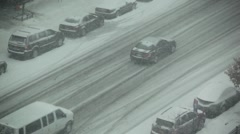 Snow Covered Streets Make Driving Difficult In A NYC Winter HD Stock Footage
