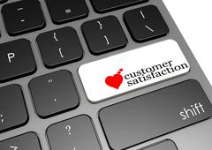 Customer satisfaction black keyboard Stock Illustration