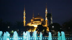 Fountain with color illumination on Sultanahmet square in Istanbul in  evening Stock Footage