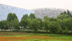 National Aquatics Center Water Cube Beijing and National Stadium aka Bird's Nest - stock footage