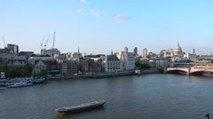 St Pauls Cathedral and London bridge with City of London skyline Stock Footage
