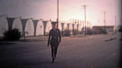 1955: Major goes to the barracks and returns happy that the war is over. Stock Footage