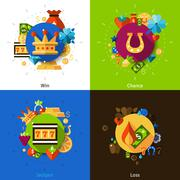 Slot machine concept icons set Piirros