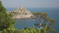 Ship swims in  Blue bay in New World, a view from mountain Karaul Oba,Crimea Stock Footage