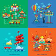 Amusement Park Flat Stock Illustration