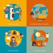 Logistic delivery concept 4 flat icons Stock Illustration