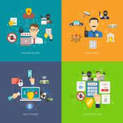 Bank security 4 flat icons banner - stock illustration