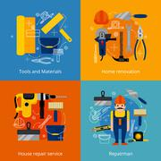 Repair service and renovation icons set Stock Illustration