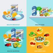 Healthy Food Flat Set - stock illustration