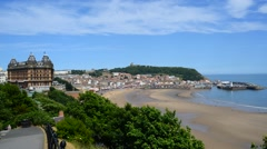 Time lapse scarborough castle and town south bay yorkshire uk Stock Footage