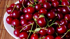 Plate With Mouthwatering  Cherries, Stop Motion, Pan Stock Footage