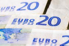 banknotes of twenty euro - stock photo