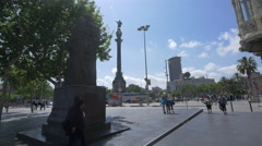 Traffic near Columbus Monument in Barcelona Stock Footage