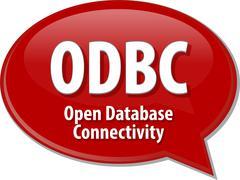 ODBC acronym definition speech bubble illustration - stock illustration
