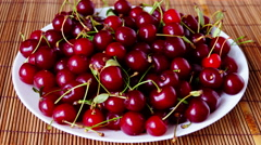 Plate With Mouthwatering  Cherries, Stop Motion, Zoom Out Stock Footage