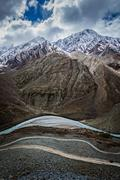 Spiti valley, river, road in Himalayas. Himachal Pradesh, India Stock Photos