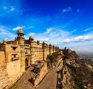 India tourist attraction - Mughal architecture - Gwalior fort. Gwalior, Madhy - stock photo