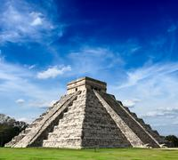 Travel Mexico background - Anicent Maya mayan pyramid El Castillo (Kukulkan)  - stock photo