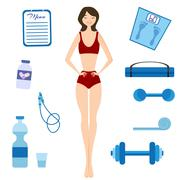 Slimming girl and Healthy lifestyle Stock Illustration