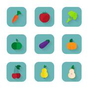 Modern flat icons a healthy lifestyle, proper nutrition Stock Illustration