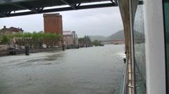 Rhone River Cruising - Locks and Views Stock Footage