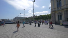 Walking near the Port of Barcelona building Stock Footage