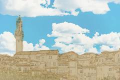 Stock Illustration of Panorama of Siena, Tuscany, Italy
