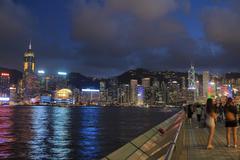 Avenue of Stars in Hong Kong at night - stock photo