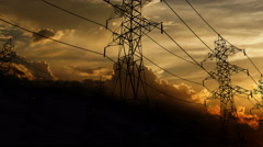 cable, electric, energy, grid, power, pylon, supply, tower - stock footage