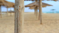 Several Rows Of Beach Umbrellas Straw Stock Footage